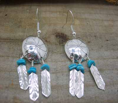 American Indian Silver War Shield Earrings Turquoise