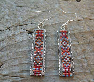 American Indian Sterling Beaded Dangle Earrings
