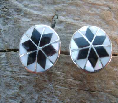 American Indian Inlay MOP Onyx Button Earrings