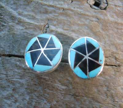 American Indian Inlay Turquoise Onyx Button Earrings
