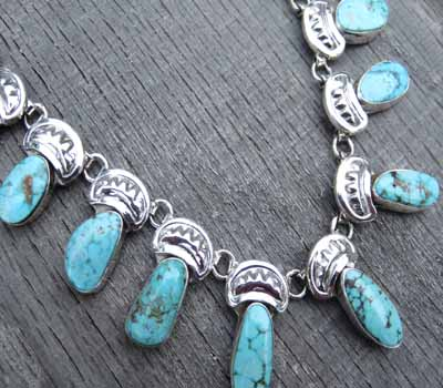 Native American Turquoise Mountain Necklace Herman Vandener