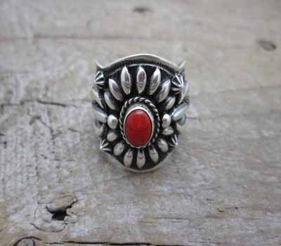 ARing Silver Darryl Becenti Sterling Coral.sz 11.75