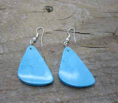 Earrings Native American Blue Turquoise Slab 2A
