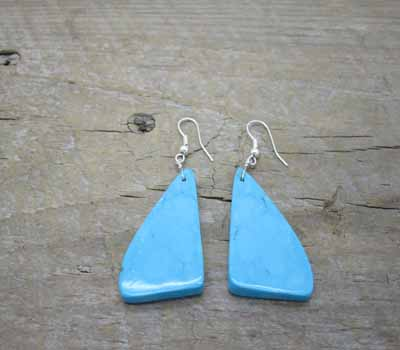 Earrings Native American Blue Turquoise Slab 2F