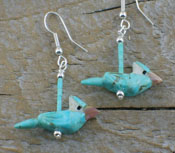 Southwest Jewelry Turquoise Blue Jay Earrings