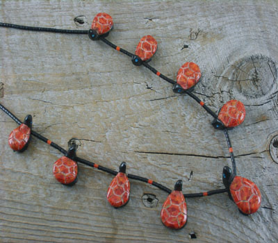 Southwest Carved Coral & Jet Turtle Fetish Necklace