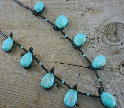 Fetish Necklace Turquoise & Jet Tortise Southwest Hand-Carved