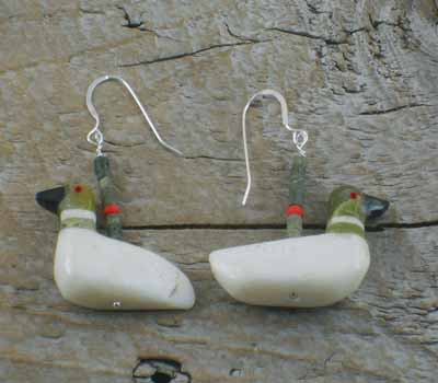 Earrings Southwest Jewelry Carved loons C