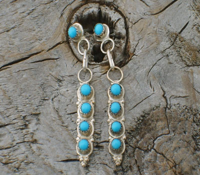Native American Turquoise & Sterling Silver Earrings