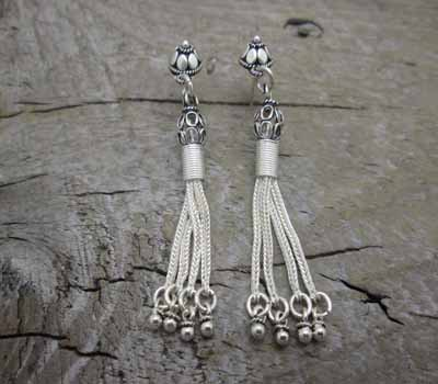 Silver Earrings-Bali Dangle