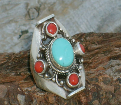 Tibetan Ring Turquoise w Red Coral - sz 6.75