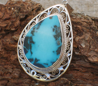 Pendant Tibetan Turquoise and Sterling Silver