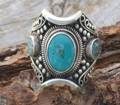 Tibetan Ring Turquoise & Sterling Silver - sz 10.25