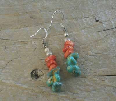 Santo Domingo Turquoise & Coral Stack Earrings