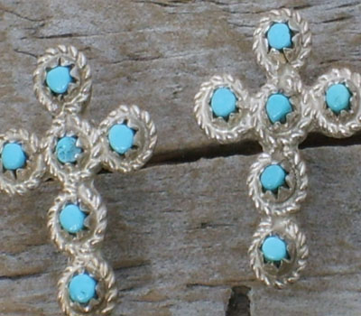 Native American Turquoise & Silver Cross Earrings