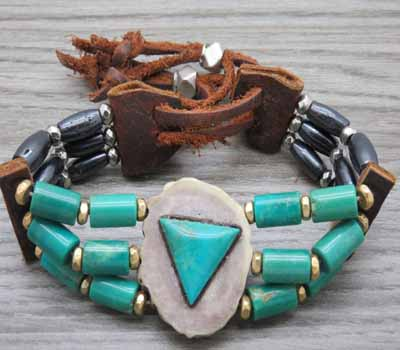 Turquoise Silver Leather Choker Style Bracelet