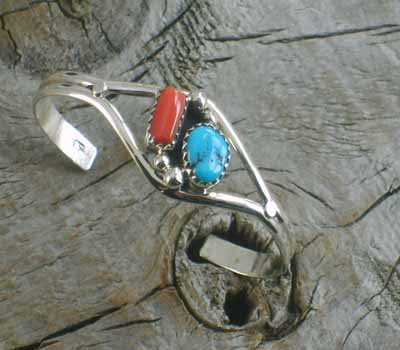 Native American Children's Turquoise Coral Cuff Bracelet