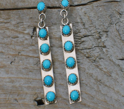Native American Turquoise & Sterling Dangle Earrings
