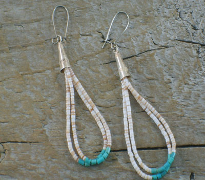 Native American Turquoise & Shell Santo Domingo Earrings