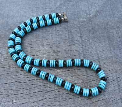 Necklace Turquoise and Jet Rondelle