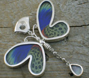 Pendant Butterfly Wings Blue Green Authentic Dual Side