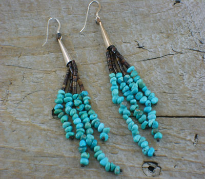 Turquoise Earrings Multi Strand SouthWest Style