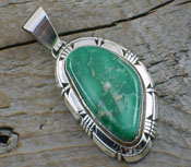 Native American Pendant Variscite and Sterling