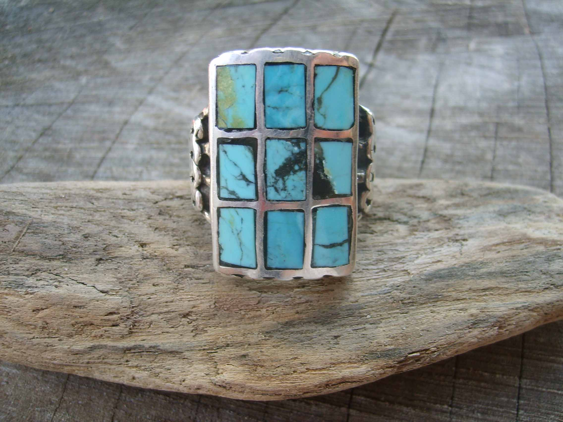 Inlay Turquoise Ring- sz 10.5