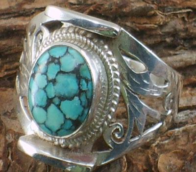 Spiderweb Turquoise Ring - Size 10