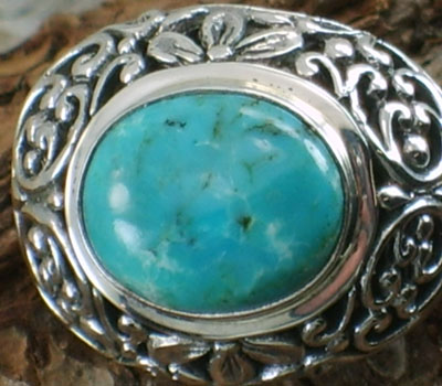 Ring Turquoise & Sterling Bali  - Oval Stone - sz 8 .75
