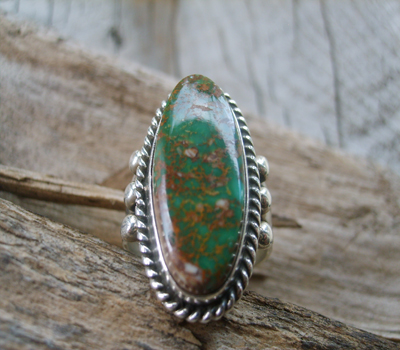 Nevada Green Turquoise Ring sz 9.25