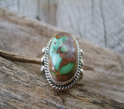 Nevada Green Turquoise Ring Brown Matrix-Sz 9.5