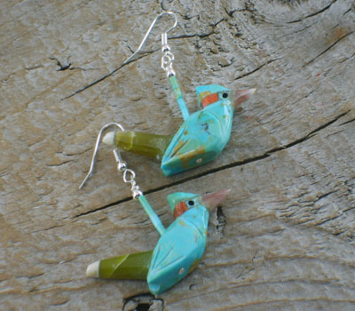 Southwest Jewelry Turquoise Roadrunner Earrings