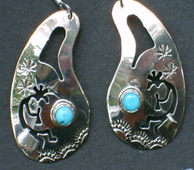 Native American Kokopelli Turquoise & Silver Earrings