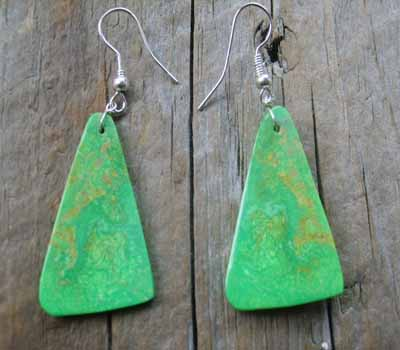 American Indian Earrings - Slab Briilliant Mojave Green C