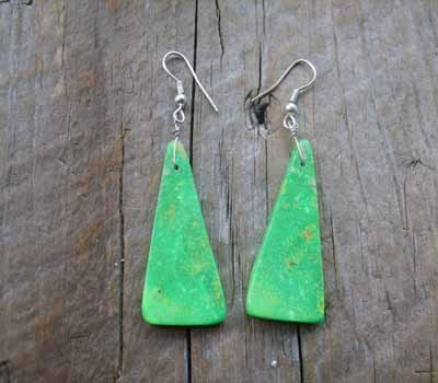American Indian Earrings - Slab Briilliant Mojave Green E