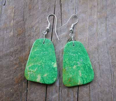 American Indian Earrings - Slab Deep Mojave Green G