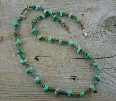 Necklace Turquoise Nugget w/ Emerald Chips