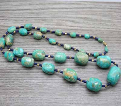 Gemstone Halley's Comet Turquoise and Lapis Necklace