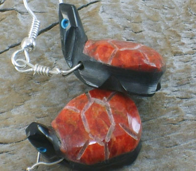 Southwest Fetish Jewelry Coral & Jet Turtle Earrings
