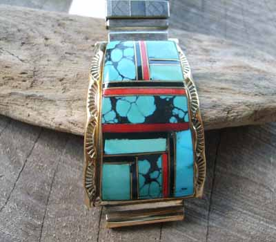 Turquoise and Coral Watch Band