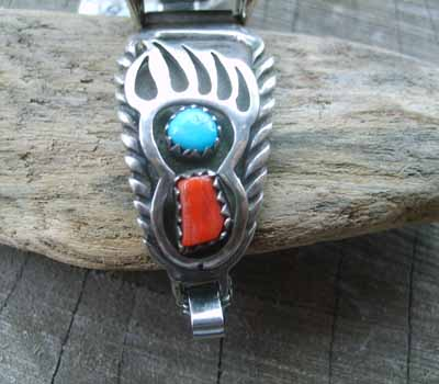 Native American Turquoise & Coral Watch Band