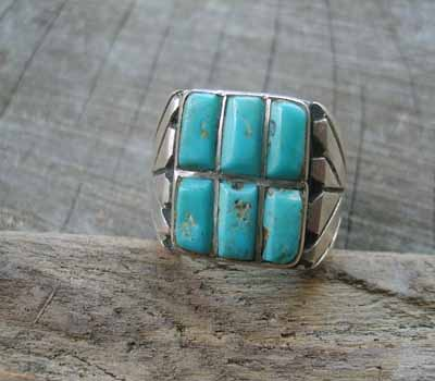 Inlay Turquoise Ring- sz 9