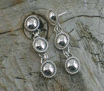 Artie Yellowhorse Sterling Triple Drop Earrings